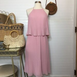 NWT Halston Pleated Blush Midi Dress